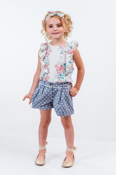 EVELYN: PERIWINKLE SPOT SHORTS