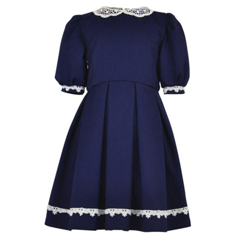 ALICIA : Navy Crochet Detail Dress