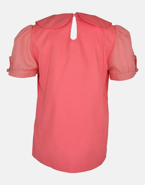 CHARLOTTE: CORAL RUCHED COLLAR BLOUSE