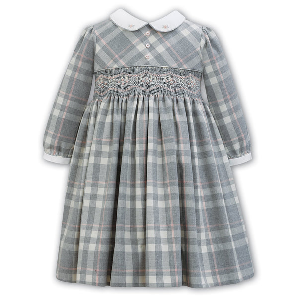 Sarah Louise Grey Checks Smocked Dress Pink Embroideries