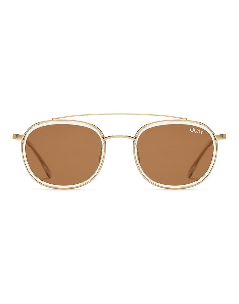 Quay Australia - Got It Covered Clear Sunglasses With Brown Lens