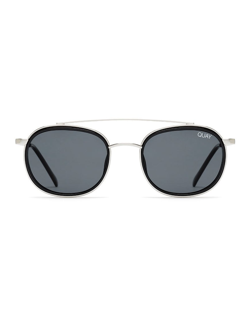 Quay Australia - Got It Covered Silver & Black Sunglasses With Smoke Lens