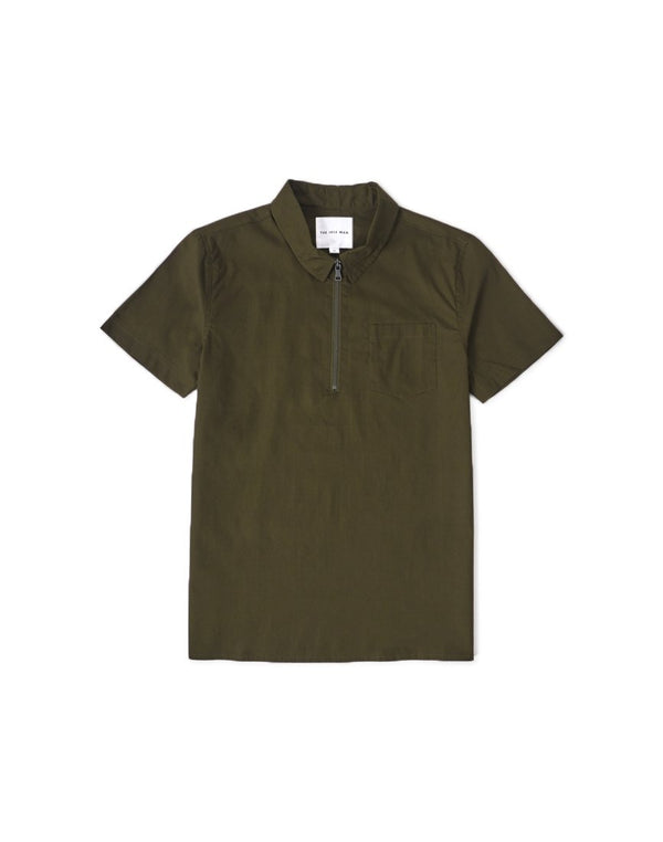 The Idle Man - Quarter Zip Shirt Green