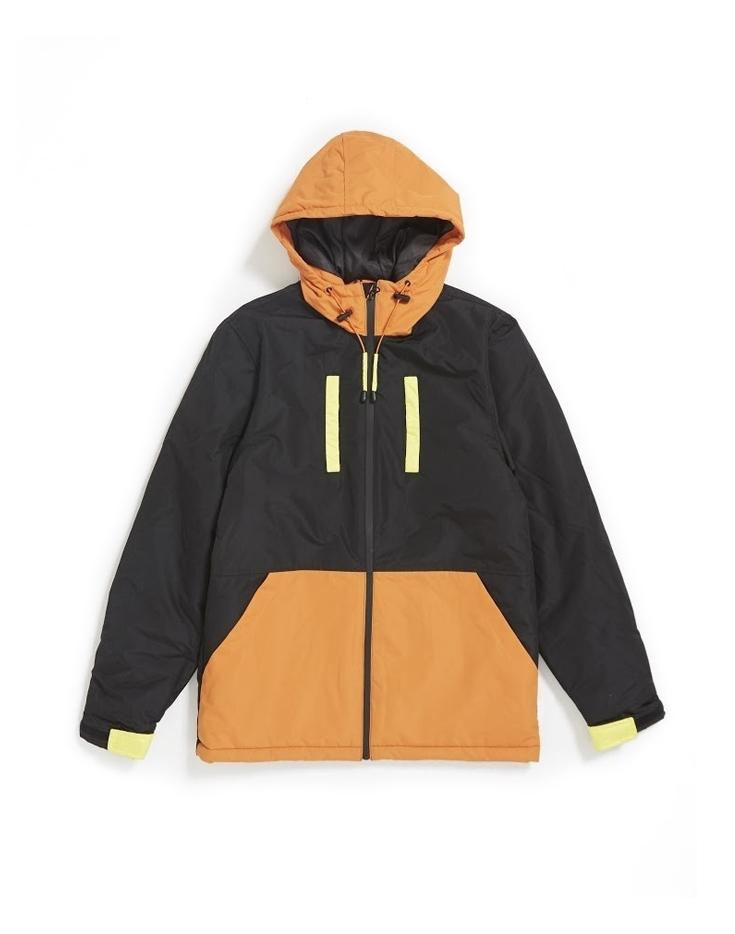 The Idle Man - Colour Block Sports Jacket Orange & Black
