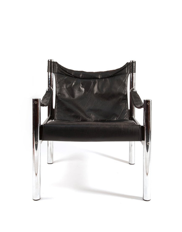 PUSH / / PULL - Vintage Leather Safari Chair Black