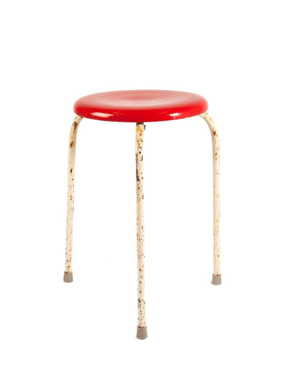 PUSH / / PULL - Red Vintage Industrial Low Stool Red