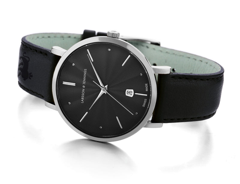 Larsson & Jennings - Lugano 38mm Watch Guilloche Dial Grey & White