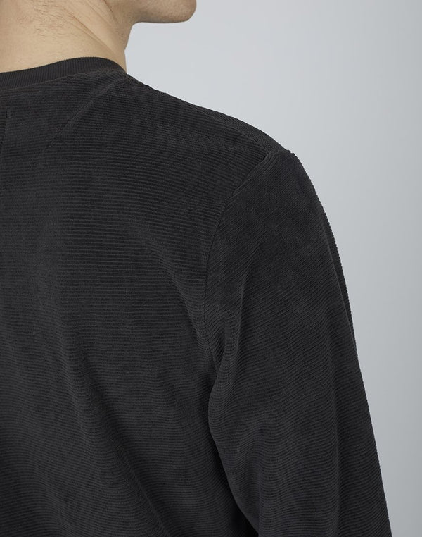 The Idle Man - Velour Crew Neck Sweatshirt Grey