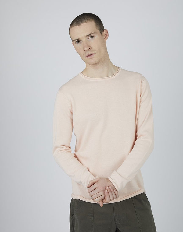 The Idle Man - Crew Neck Jumper Washed Pink