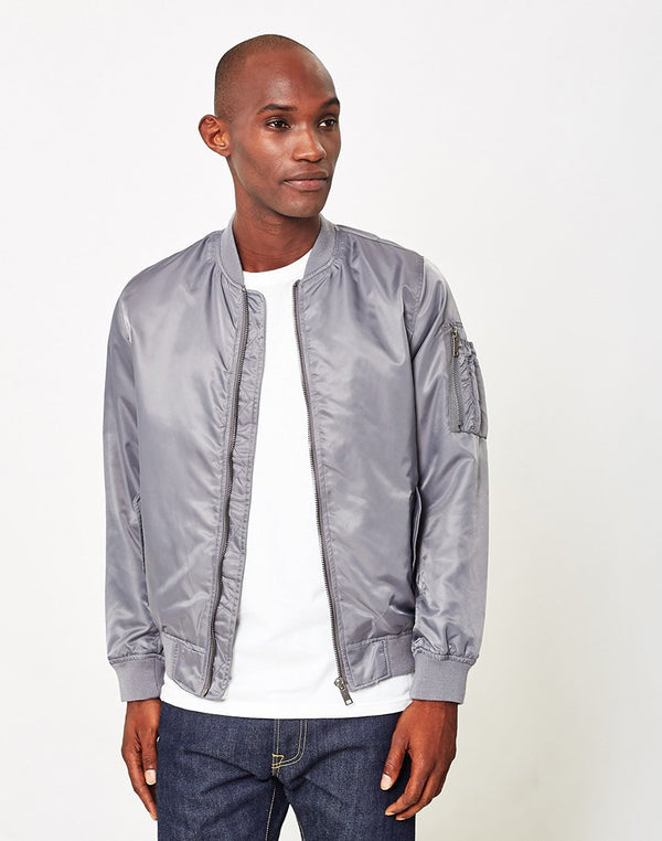 The Idle Man - Lightweight Nylon MA-1 Bomber Jacket Grey