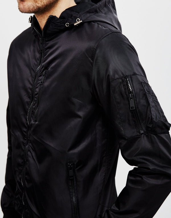 The Idle Man - Hooded Bomber Jacket Black