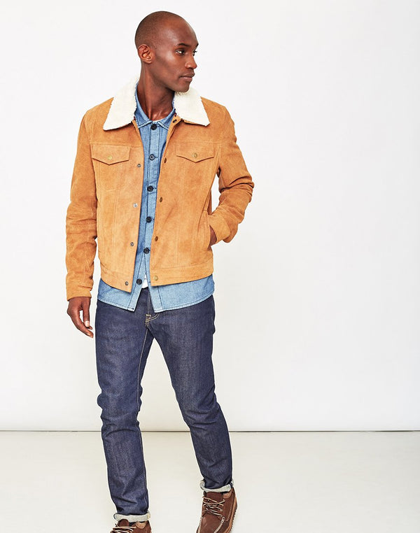The Idle Man - Suede Western with Detachable Collar Tan