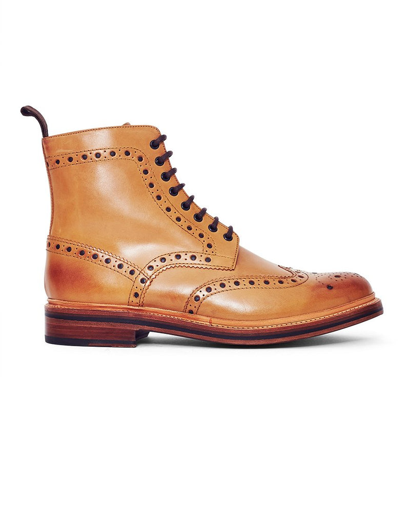 Grenson - Fred Leather Brogue Boot Tan
