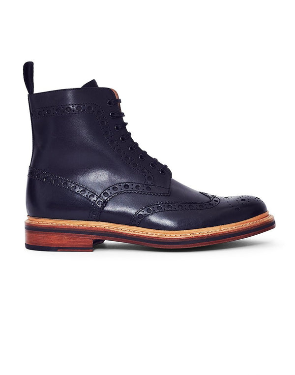 Grenson - Fred Leather Brogue Boot Black