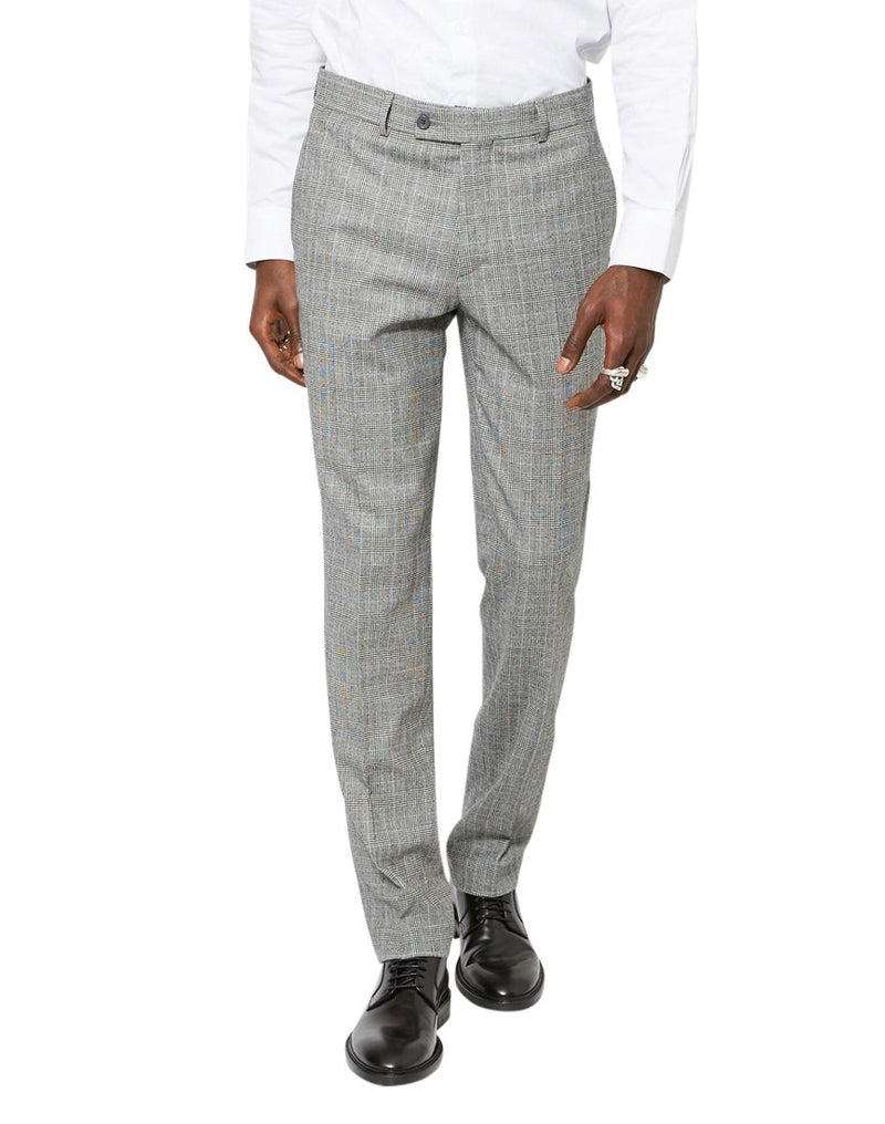 The Idle Man - Slim Prince Of Wales Check Pure Wool Suit Trousers