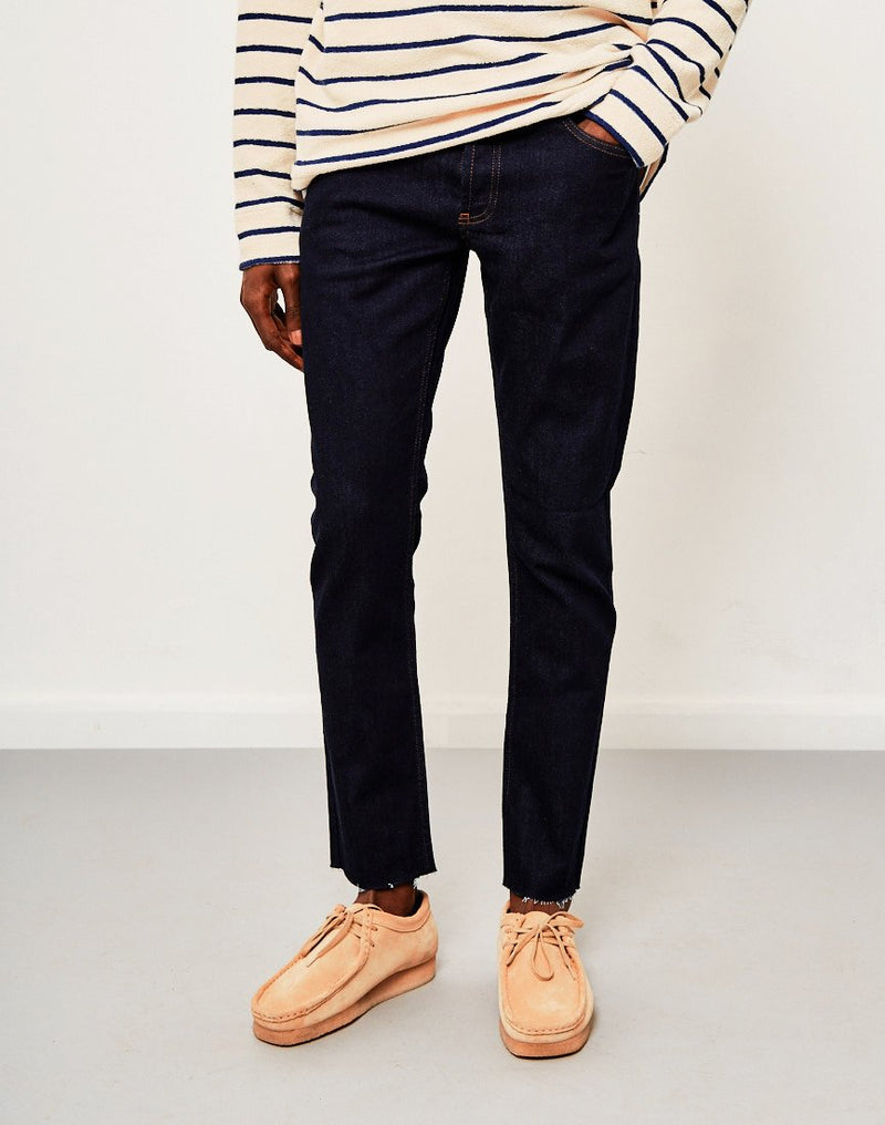 The Idle Man - Slim Fit Raw Hem Jeans Rinse Wash/Raw