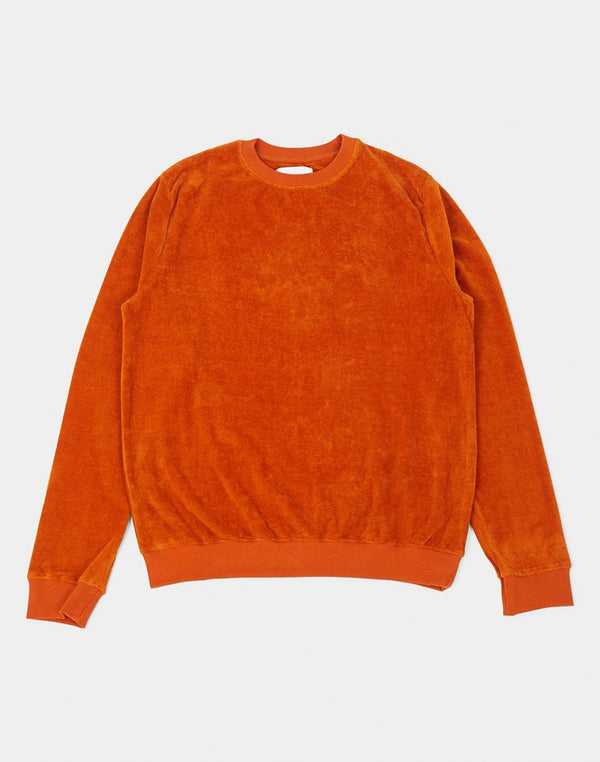 The Idle Man - Velour Crew Neck Sweatshirt Orange