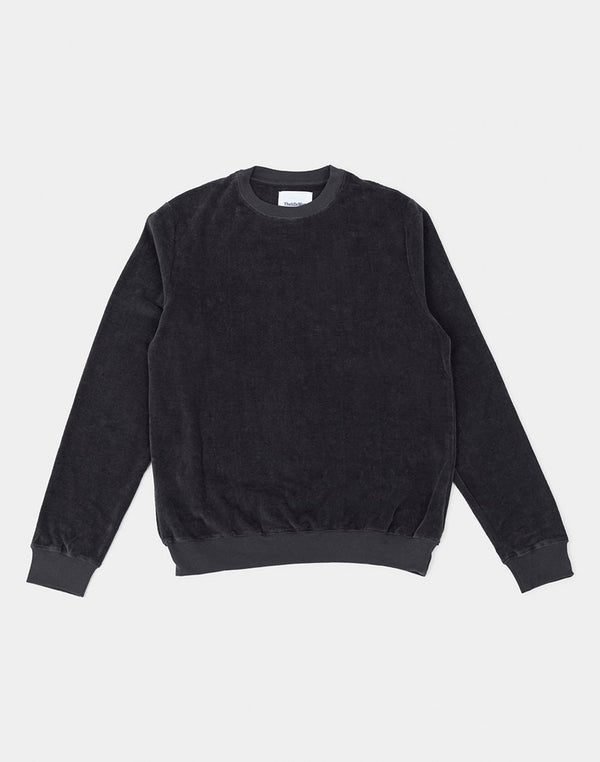 The Idle Man - Velour Crew Neck Sweatshirt Lead