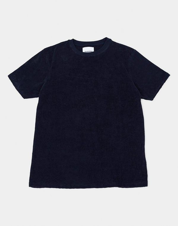 The Idle Man - Drop Needle Velour T-Shirt Navy