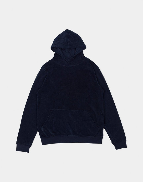 The Idle Man - Velour Hoodie Navy