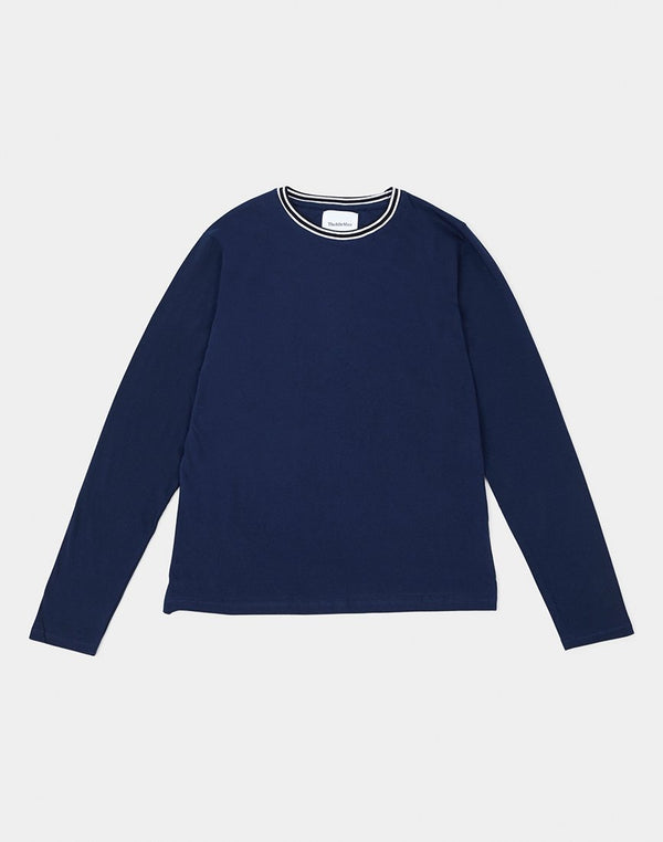 The Idle Man - Stripe Collar Long Sleeve T-Shirt Navy
