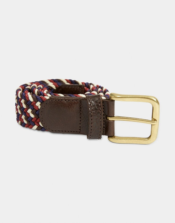 The Idle Man - Elasticated Weave Belt Multi Red