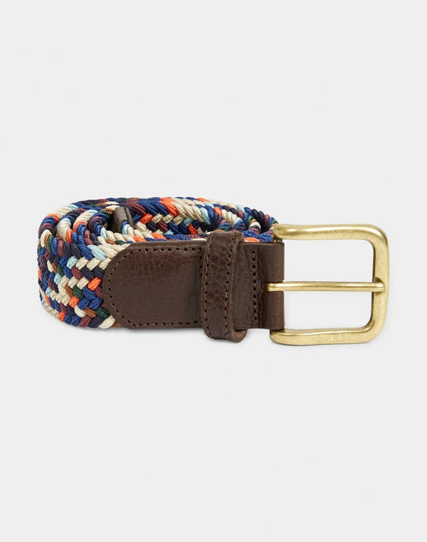 The Idle Man - Elasticated Weave Belt Multi Orange