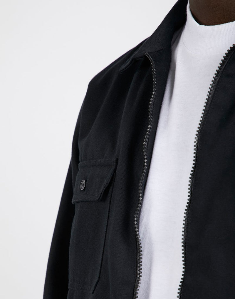 The Idle Man - Zip Overshirt Black