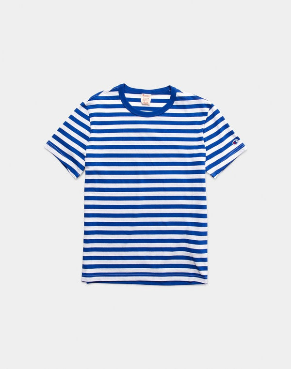 Champion - Creck Neck Stripe T-Shirt Blue & White