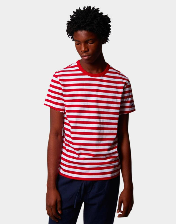 Champion - Creck Neck Stripe T-Shirt Red & White