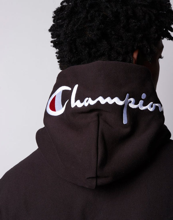 Champion - Reverse Weave Brushed Fleece Hoodie Hood Logo Black