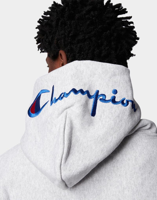 Champion - Reverse Weave Brushed Fleece Hoodie Hood Logo Grey