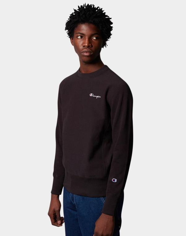 Champion - Reverse Weave Brushed Fleece Sweatshirt Vertical Logo Black