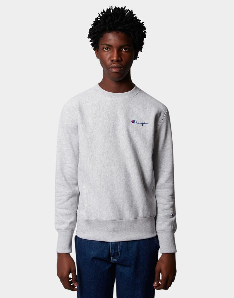 Champion - Reverse Weave Brushed Fleece Sweatshirt Vertical Logo Grey
