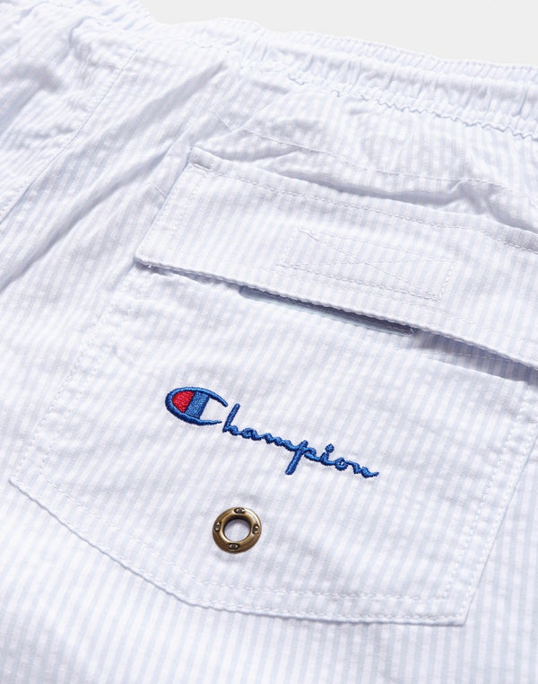 Champion - Swim Shorts Stripe White & Blue