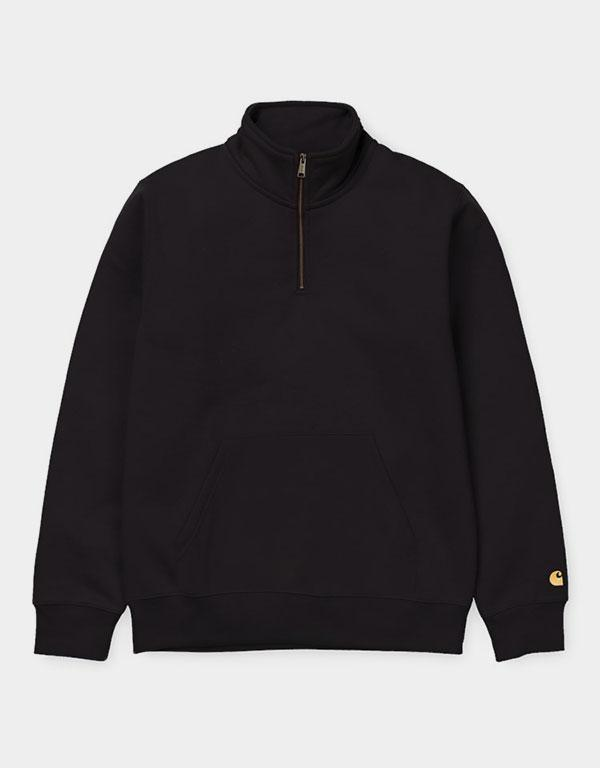 Carhartt WIP - Chase Sweatshirt with Quarter Zip Black