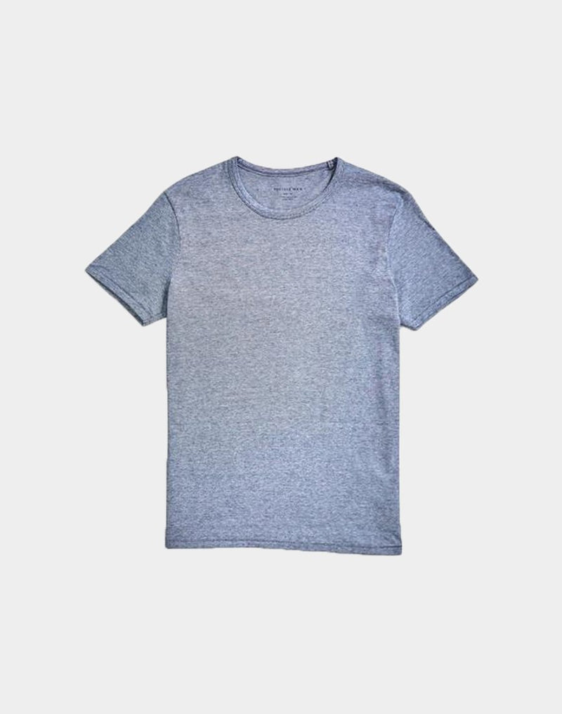 The Idle Man - Micro Stripe Organic T-Shirt Navy & White