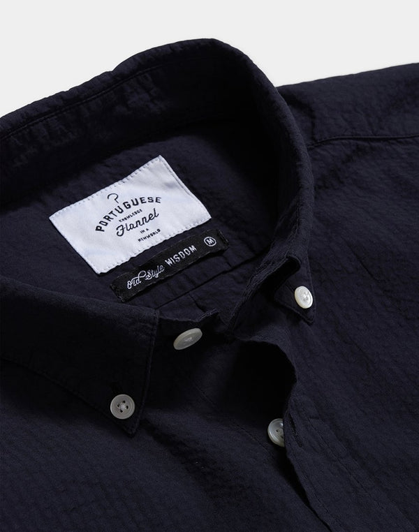 Portuguese Flannel - Atlantico Button Down Short Sleeve Shirt Navy