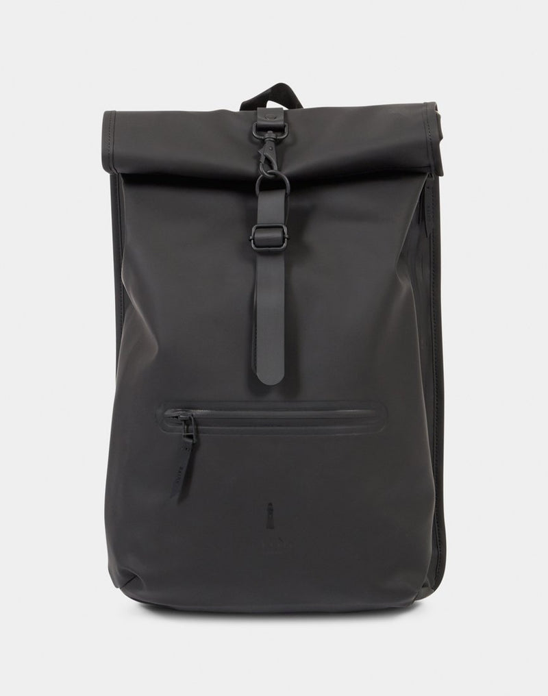 Rains - Roll Top Rucksack Black