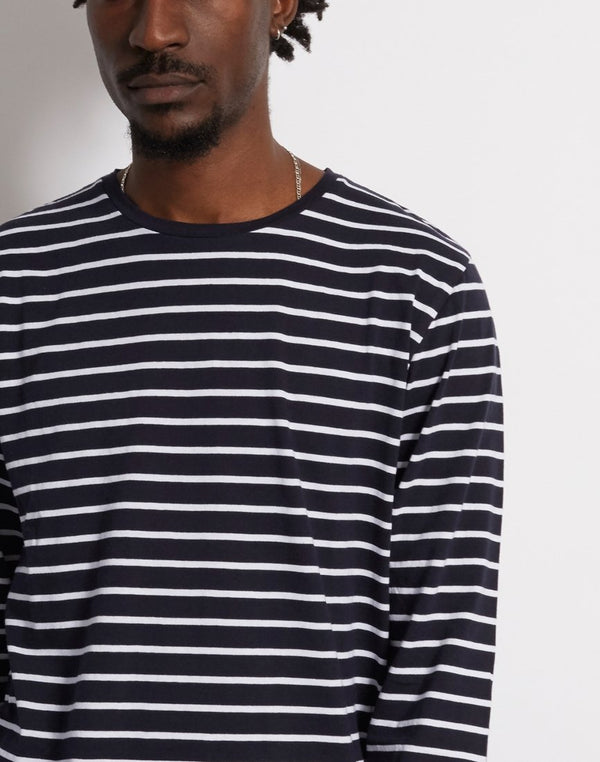 The Idle Man - Long Sleeve Yarn Dyed Breton Stripe Navy