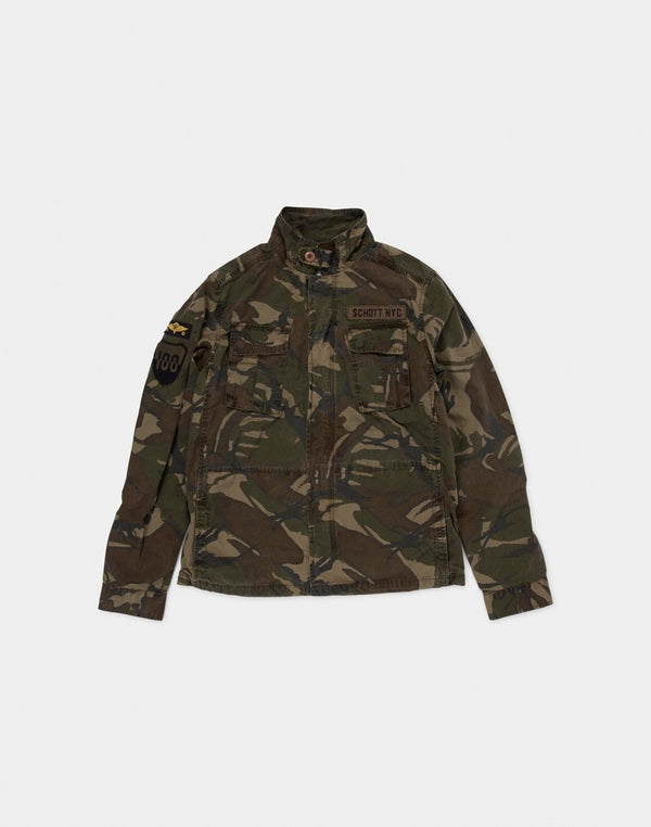 Schott NYC - Cooper Army Zipped Jacket with Badges Camo Khaki