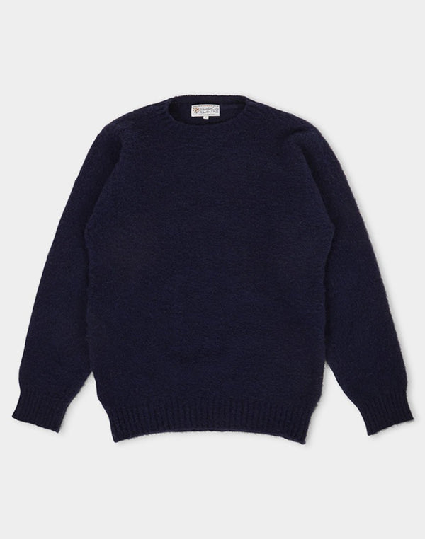 Shetland Woollen Co. - Shaggy Crew Neck Jumper Navy