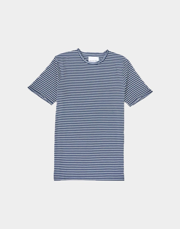The Idle Man - Slim Fit Striped T-Shirt Navy