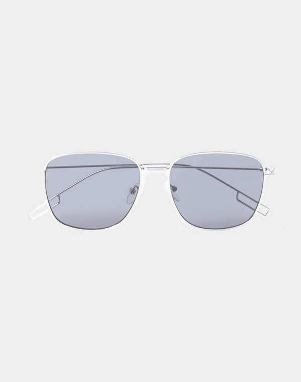 The Idle Man - Square Aviator Sunglasses Silver