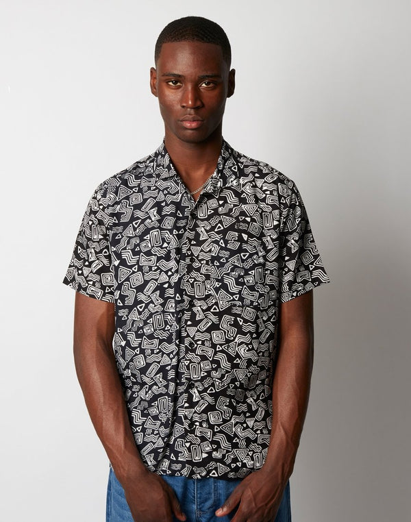 Stan Ray - Tom Tom Batik Short Sleeve Shirt Black