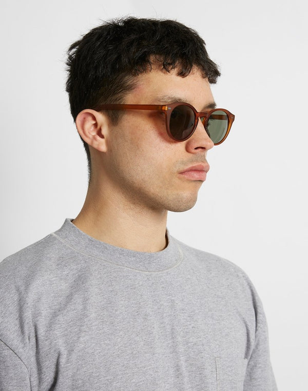 The Idle Man - Round Lens Keyhole Sunglasses Brown