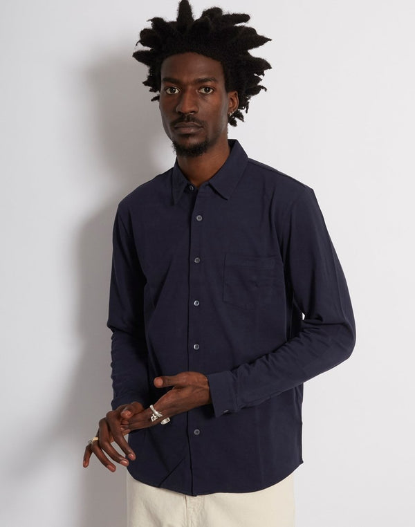 Sunspel - Long Sleeve Pique Shirt Navy