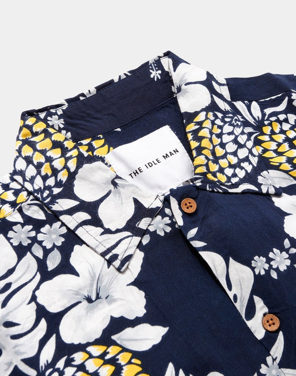 The Idle Man - Pineapple Print Short Sleeve Shirt