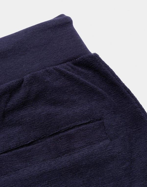 The Idle Man - Textured Jogger Shorts Navy