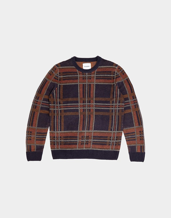The Idle Man - Brushed Check Jumper Navy